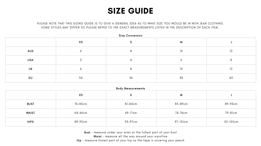 Find your dress hire size with our designer size guides ...