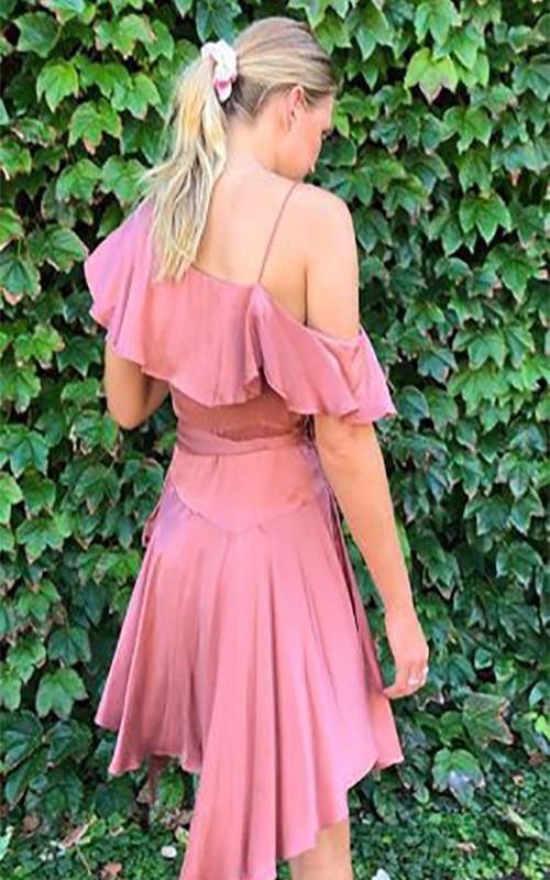Rent Zimmermann Short Suede Asymmetric Silk Wrap Dress Rose