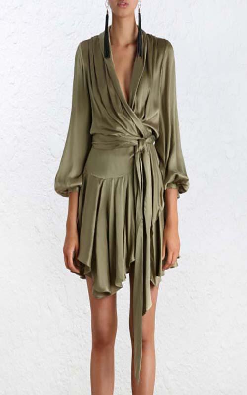 Rent Zimmermann Short Suede Wrap Dress In Khaki Olive